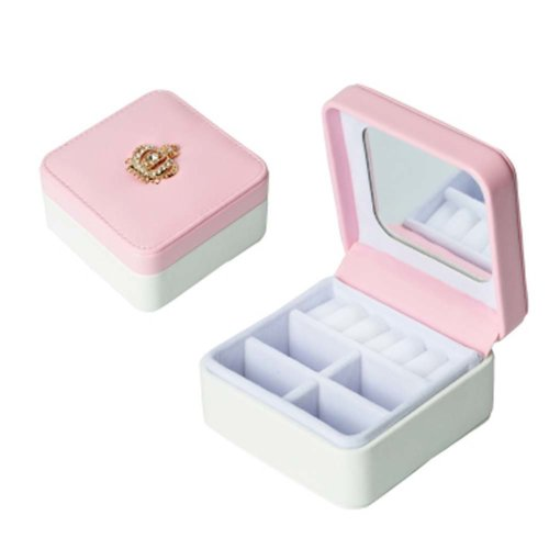 Jewelry Box Rings Earrings Necklace Organizer Display Storage Case with Rhinestone for Travel, E