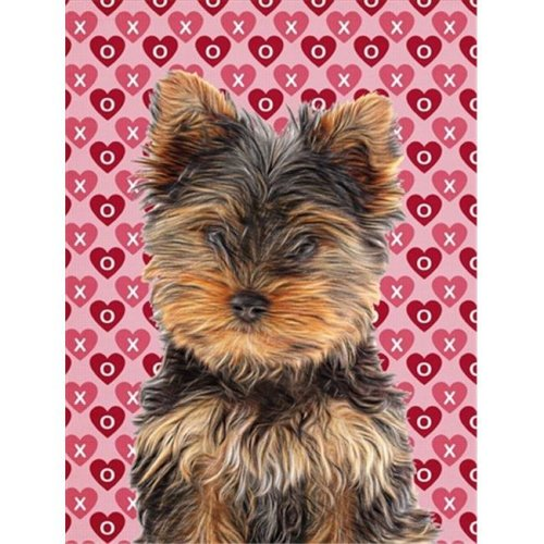 Hearts Love and Valentines Day Yorkie Puppy & Yorkshire Terrier Flag Garden Size