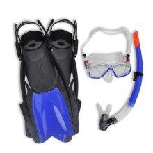 Diving Set Snorkel Fins Lens Blue for Adults 38 - 41