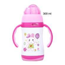 Cute Rabbit Vacuum Insulated Stainless Steel Sippy Cup with Handle, 10 oz