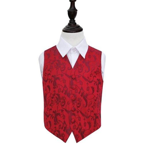 Burgundy Floral Wedding Waistcoat for Boys 30'