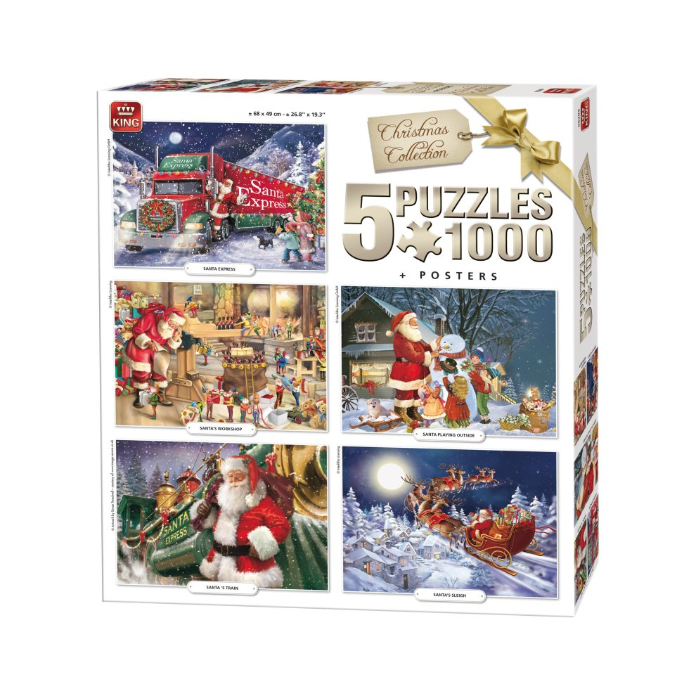 Christmas Jigsaw Puzzles.King 5219 Christmas 5 In 1 Jigsaw Puzzles 5 X 1000 Piece Puzzle 68 X 49 Cm Posters Included