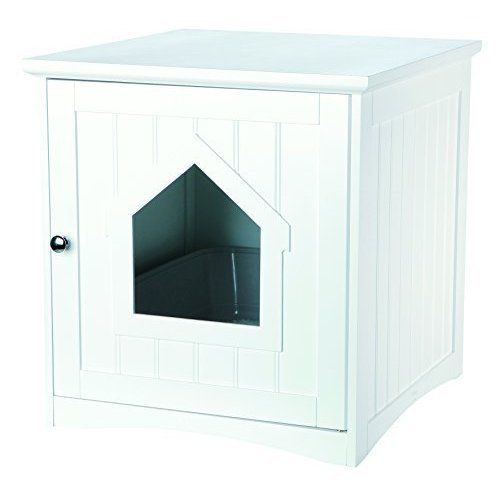 Trixie Pet Products Wooden Cat Home & Litter Box, White - Box 51 -  trixie cat pet products wooden home litter box white 51