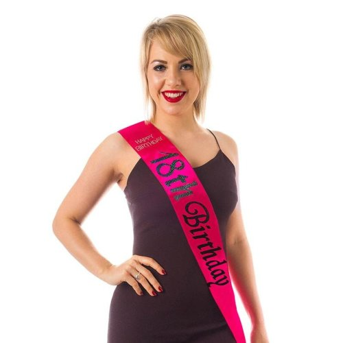 HOT PINK 18 Diamante Happy Birthday Sash 18th in BLACK Holographic