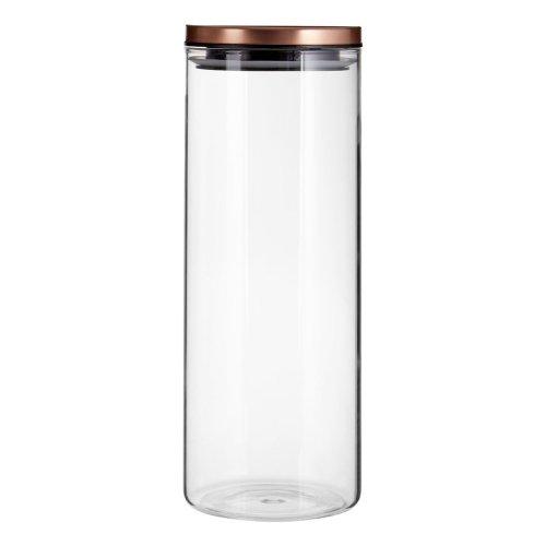 Freska Clear Glass Storage Jar with Rose Gold Metal Lid, 1600ml