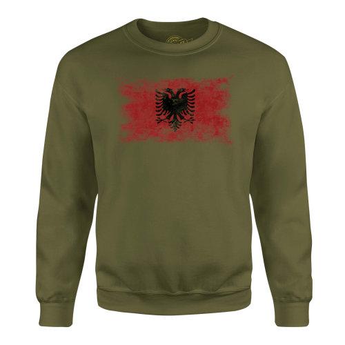 Candymix - Albania Distressed Flag - Unisex Adult Sweatshirt, Size X-Small, Colour Dark Navy, Size Medium, Colour Military Green