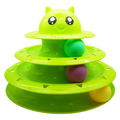 Vealind Pet Interactive Fun Roller Exerciser 3 Level Tower of Tracks Cat Teaser Ball Toy(Green)