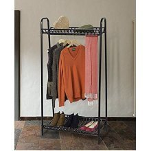 Two Tier Vintage Style Clothes Rack With Two Storage Shelves - Black