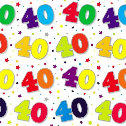 Simon Elvin 24 Sheets 40th Birthday Gift Wraps