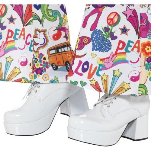 Smiffy's 43074s 70's Men's Platform Shoe (uk 8/us 9) -  mens 1970s platform shoes adults 1960s hippie fancy dress accessory retro hippy