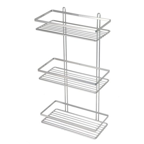 3-Tier Silver Wall-Mounted Shower Caddy | Rustproof Shower Basket