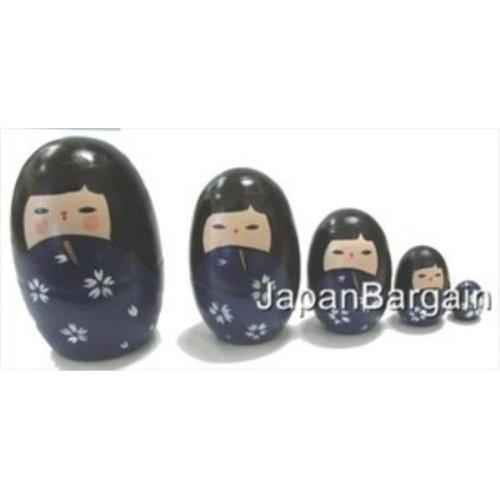 Blue Matryoshka Kokeshi Nesting Doll #MD2/P