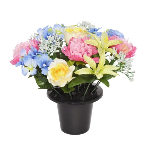Memorial Flowers Vase Inset Artificial Roses in Grave Crem Pots