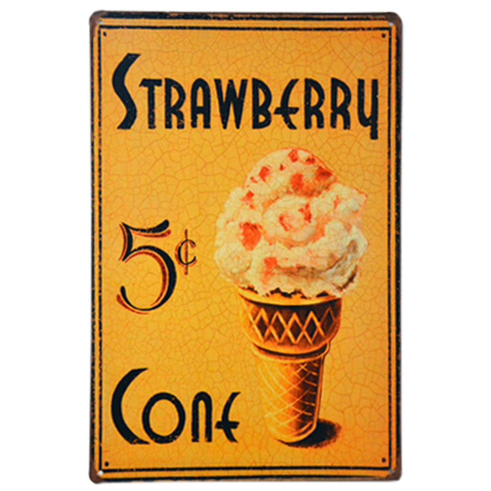 ICE CREAM] Metal Painting Wall Decoration Vintage Wall Mural 30*23CM ...