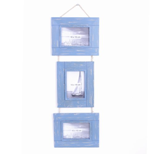 Triple Rustic Blue Wooden Photoframe on Jute String Hanger