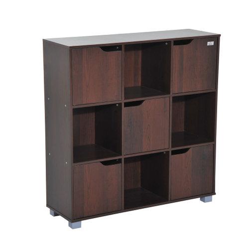 Homcom Cubic Bookcase Multi-Cells Storage Unit Cabinet (9 Cubes, Dark Coffee)