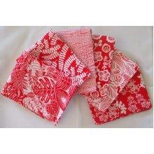 Fat Quarter Bundle - 100% Cotton - Red Batik - Pack of 6