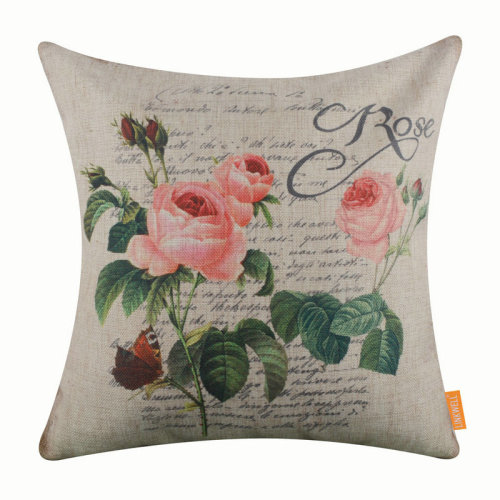 """18""""x18"""" Vintage Pink Rose Words Burlap Pillow Cover Cushion Cover"""