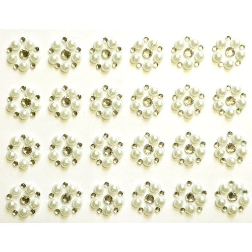 6mm Ivory Pearls Stickers Flat Backed Self Adhesive Sticky Gems Pearl Diamante