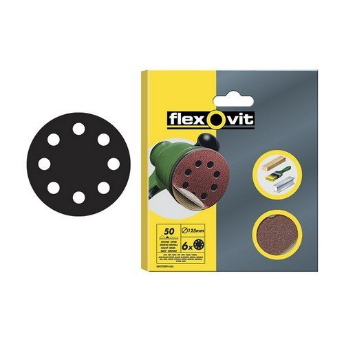 Flexovit 63642526708 Hook & Loop Sanding Discs 125mm Medium 80g Pack of 15