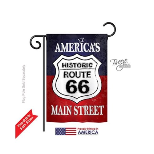 Breeze Decor 61059 Patriotic Route 66 2-Sided Impression Garden Flag - 13 x 18.5 in.