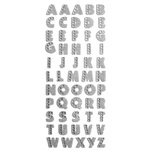 Crystal Stickers Glitter Alphabet 55/Pkg-Silver
