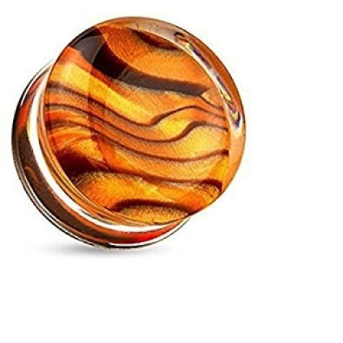 Detailed Amber Design Clear Acrylic Double Flared Flesh Tunnel Ear Saddle Plug