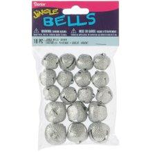 Glitter Jingle Bells 18/Pkg-Silver Assorted