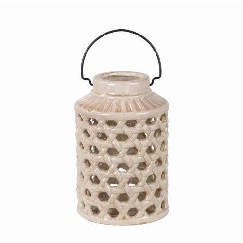 Privilege 66775 7 x 7 x 10.5 in. Pierced Ceramic Lantern, Off-White - Small