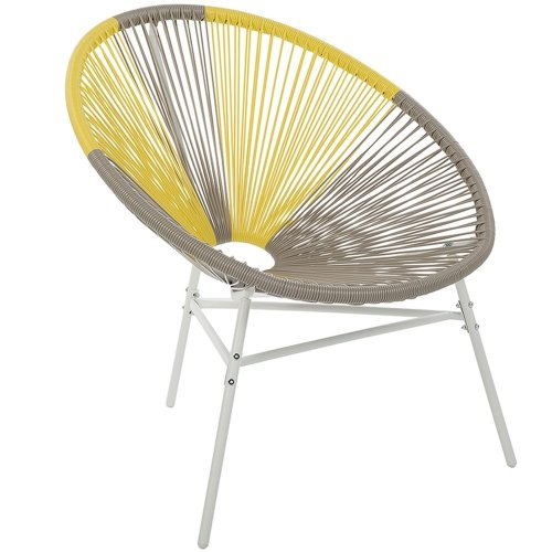 Accent Chair Taupe and Yellow ACAPULCO