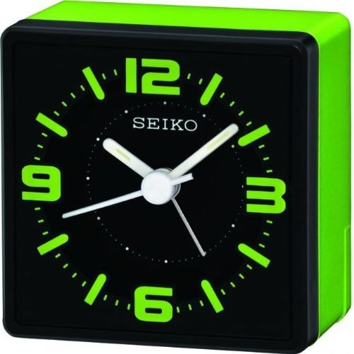 Seiko Analogue Bedside Alarm Clock - Green (QHE091M)