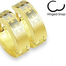 Pair Of Gold Plated 3 Celtic Cross Design Surgical Steel Hinged Snap Close Huggy Hooped Earrings 0.8mm Thickness