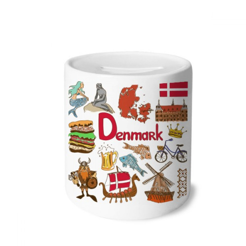 Denmark Landscap Animals National Flag Money Box Saving Banks Ceramic Coin Case Kids Adults