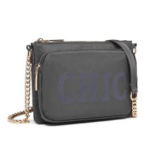(Grey) Miss Lulu Women's 'Chic' Cross Body Chain Bag