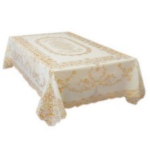 Gold Engraving Floral Print PVC Tablecloth (136 by 180CM)