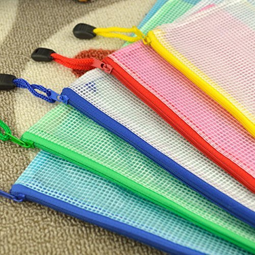 A4 plastic file zipper bag storage grid students homework portfolio (pack of 5)