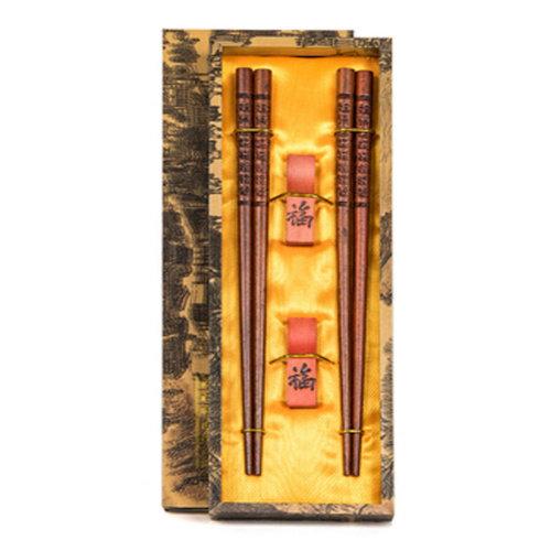 Chopsticks Reusable Set - Asian-style Natural Wooden Chop Stick Set with Case as Present Gift,I