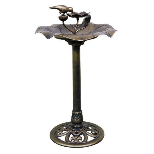 Bronze Effect Garden Water Bird Bath Feeder Feedering Wash Stand Table Station