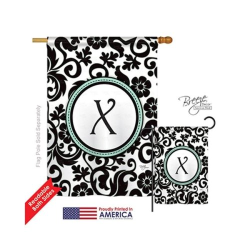 Breeze Decor 30076 Damask X Monogram 2-Sided Vertical Impression House Flag - 28 x 40 in.