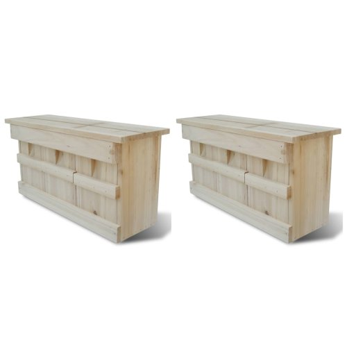 vidaXL 2x Sparrow Houses Wood 44x15.5x21.5cm Bird Habitat Home Nesting Box