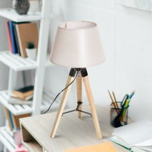 Homcom Modern Wooden Tripod Table Lamp with Linen Shade