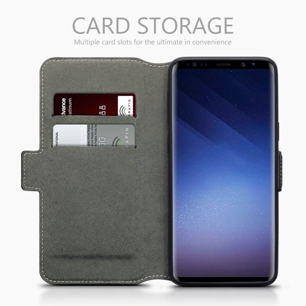 hot sale online 6d418 d7a2f TERRAPIN Samsung S9 Case Samsung Galaxy S9 Leather Case Wallet Flip Cover -  Ultra Slim Fit - Viewing Stand - Card Slots - Black
