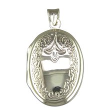 Childrens Sterling Silver Engraved Oval Locket On A Curb Necklace