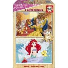 2 Wooden Jigsaw Puzzles - Disney Princess