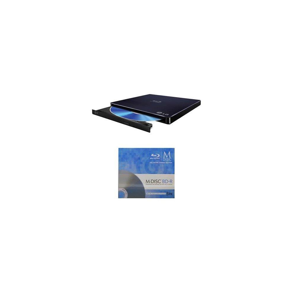 LG 6x WP50NB40 Ultra Slim Portable Blu-ray Writer Bundle with 3 Pack