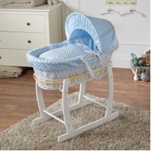 Blue Dimple White Wicker Deluxe Moses Basket & White Rocking Stand
