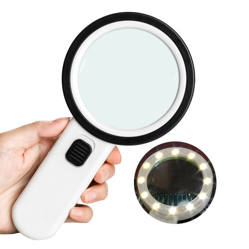 Magnifying Glass LED Magnifier,30X Illuminated Magnifier Handheld with 12 LED Lights Reading Magnifying Glass Double Glass Lens for Seniors Read, Coins, Stamps, Map, Inspection, Macular Degeneration