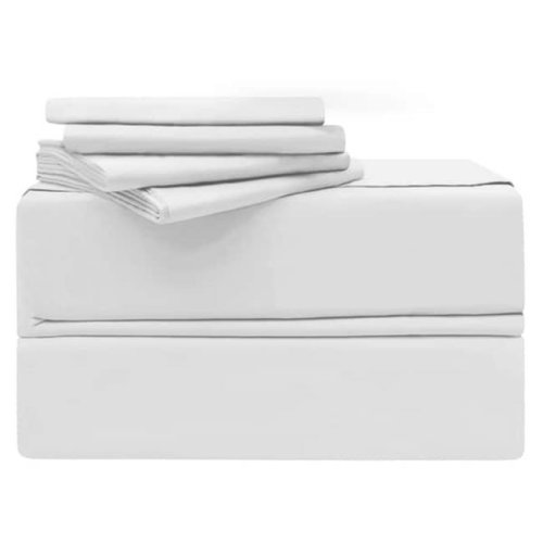 Simply the Best YMS008192 Luxury 620 Thread Count 100 Percent Cotton Sheet Set, White - California King - 6 Piece
