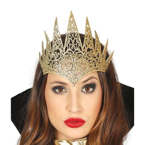 Ladies Gold Wicked Queen Tiara Crown Halloween Fairy Tale Princess Fancy Dress - Default Title