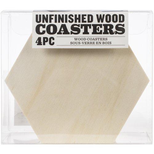 """Unfinished Wood Coaster Set 4/Pkg-Hexagon 4""""X4.5"""""""
